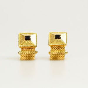 Square Gold / Black pearl Vintage Cufflinks Front