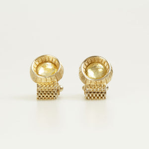Yellow Round Crystal Vintage Cufflinks Front
