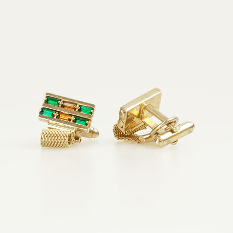 Rectangle Multi Crystal Vintage Cufflinks Front