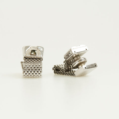 Silver With Grey Crystal Vintage Cufflinks Front