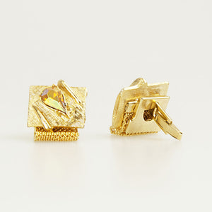 Gold With Tear Drop Crystal Vintage Cufflinks Back