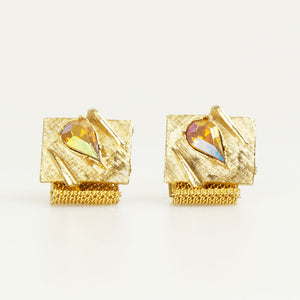 Gold With Tear Drop Crystal Vintage Cufflinks Front