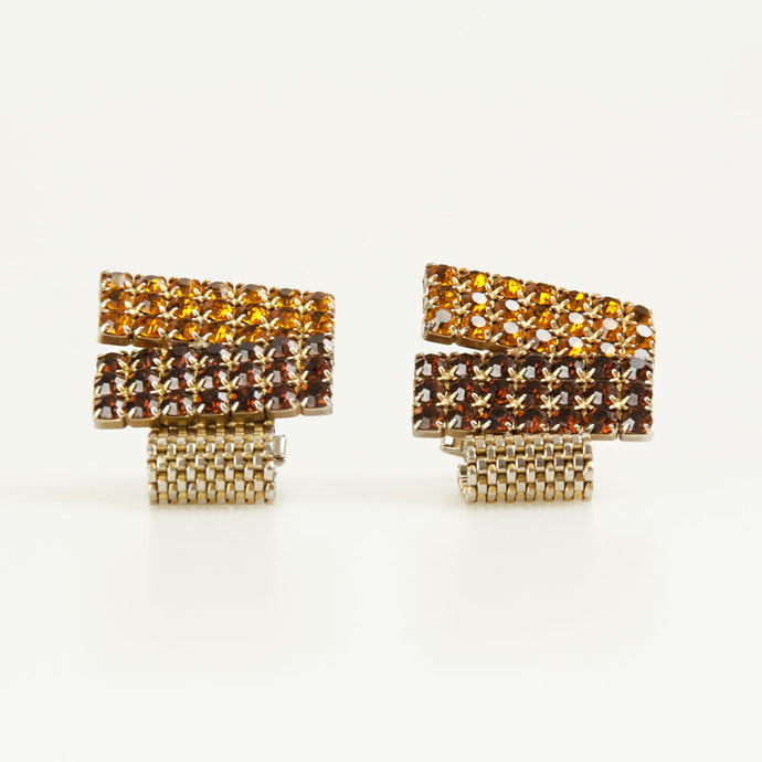 Diamante Rectangle Vintage Cufflinks Front