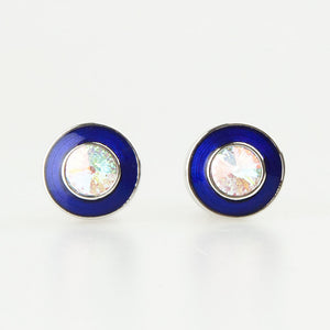 Double Round Silver Crystal Cufflinks Front