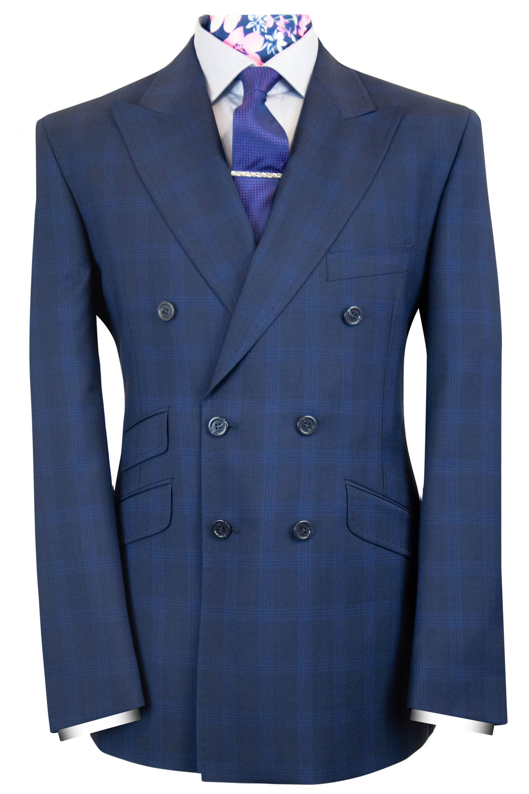 The Bradley Double Breasted Classic Navy with Blue Overcheck Suit
