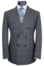 The Caistor Grey Double Breasted with Cerulean Windowpane Check Suit