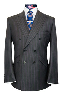 The Stanley Grey Double Breasted Suit with Purple Pinstripe
