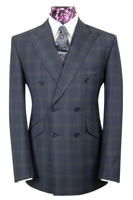 The Delvin Navy Blue Double Breasted Suit with Grid Check
