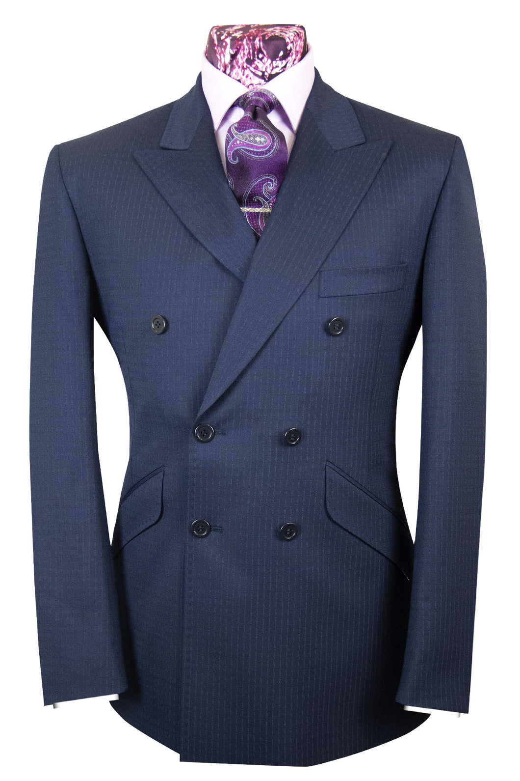 The Winsor Midnight Blue Double Breasted Suit with Stripes