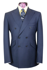 The Herondale Oxford Blue Double Breasted Suit with Black Over Check
