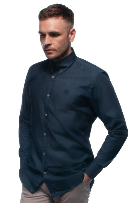 Denim cotton oxford shirt with button down collar