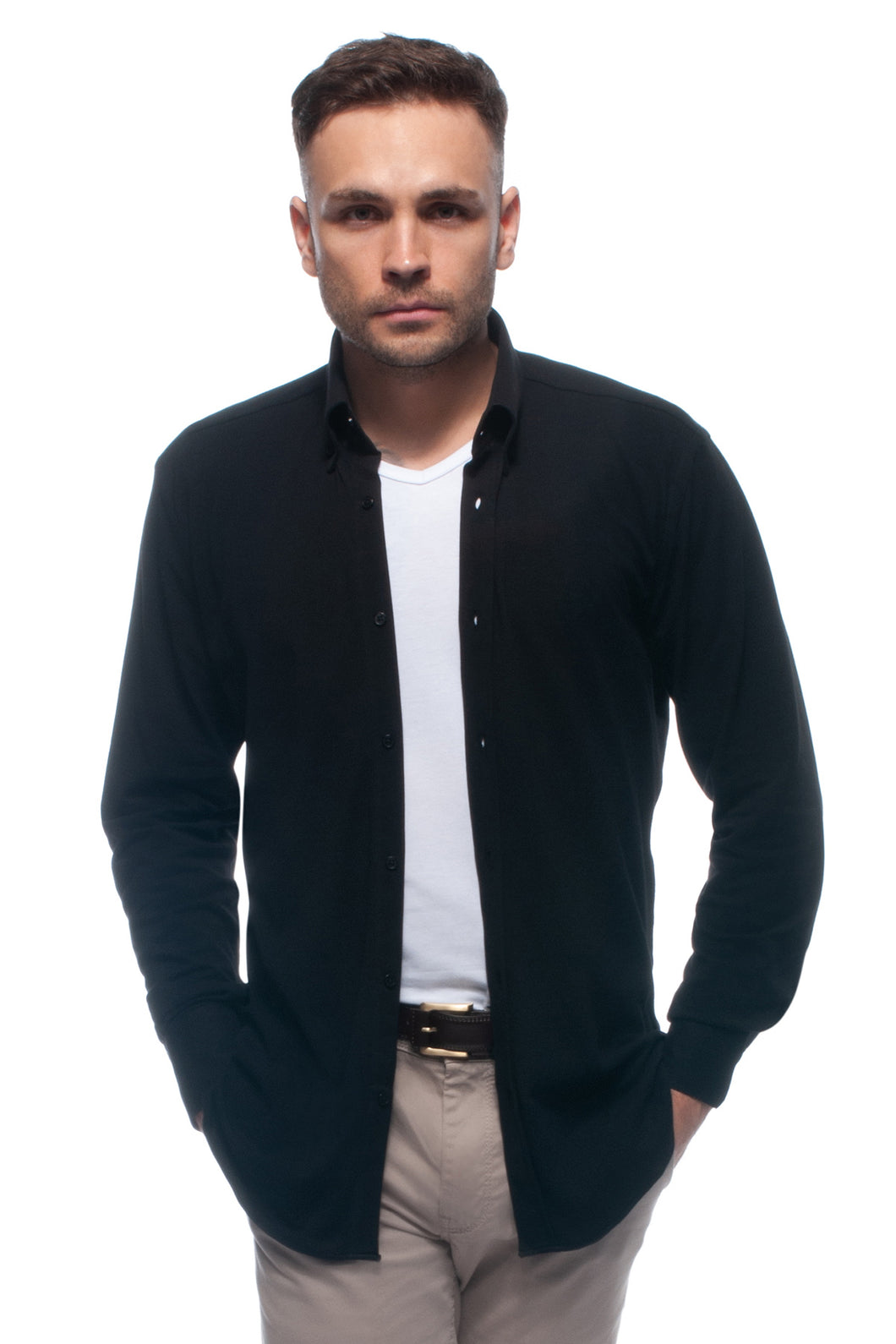 Black soft-touch casual lightweight piqué button down shirt