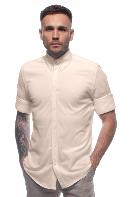 Sand Beige soft-touch casual lightweight piqué button down shirt