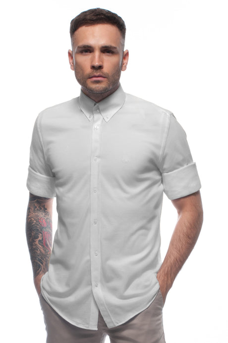 Grey soft-touch casual lightweight piqué button down shirt