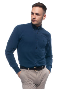 Navy blue soft-touch casual lightweight piqué button down shirt