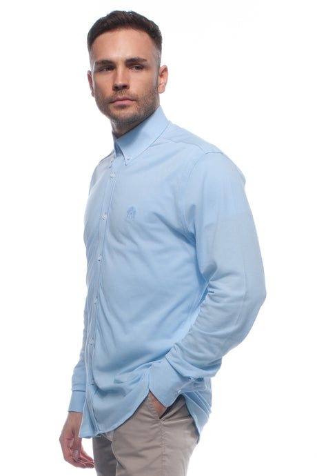 Sky Blue soft-touch casual lightweight piqué button down shirt