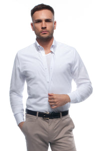 White soft-touch casual lightweight piqué button down shirt