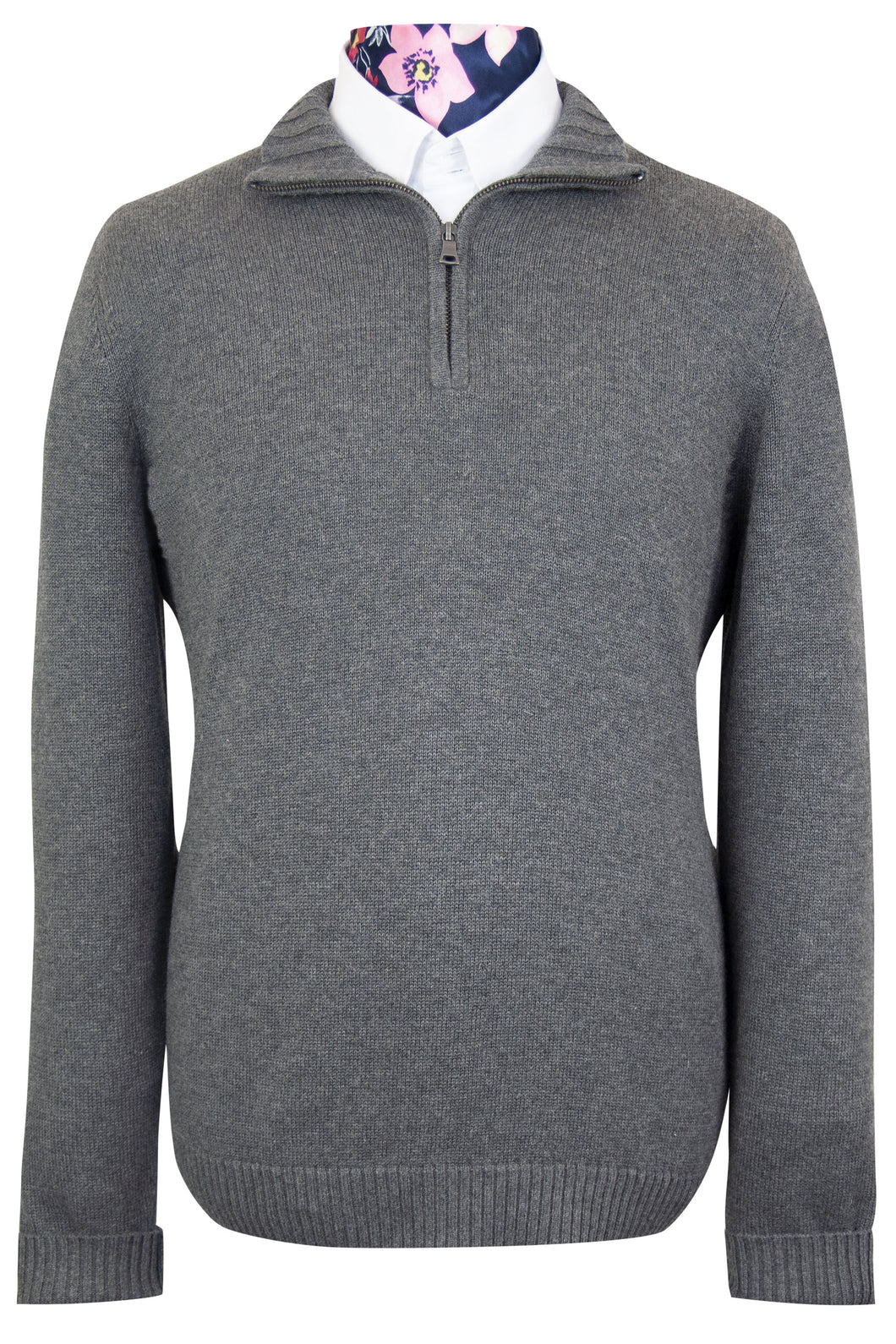 Grey Half Zip WH Knitted Jumper front