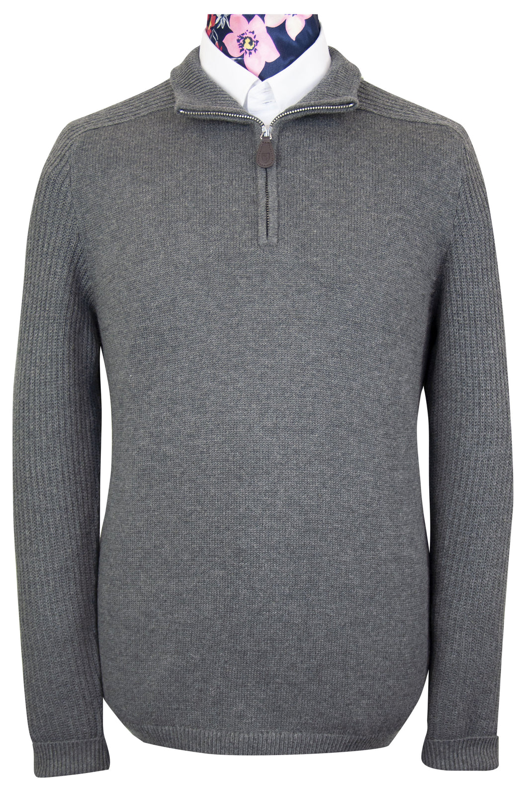 Grey Half Logo Zip WH Knitted Jumper Front View