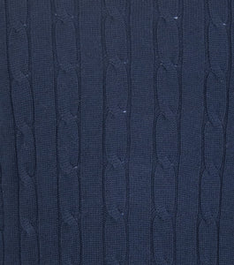 Navy Round Neck WH Knitted Jumper Close Up