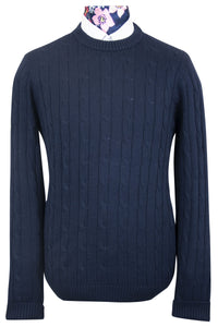 Navy Round Neck WH Knitted Jumper Front
