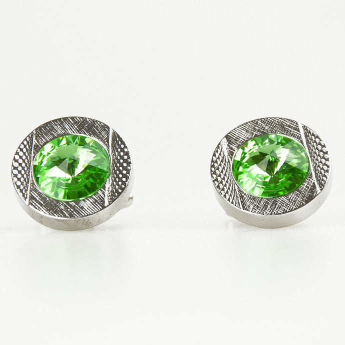 Double Round Silver/Green Crystal Cufflinks