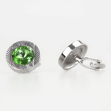 Double Round Silver/Green Crystal Cufflinks Side