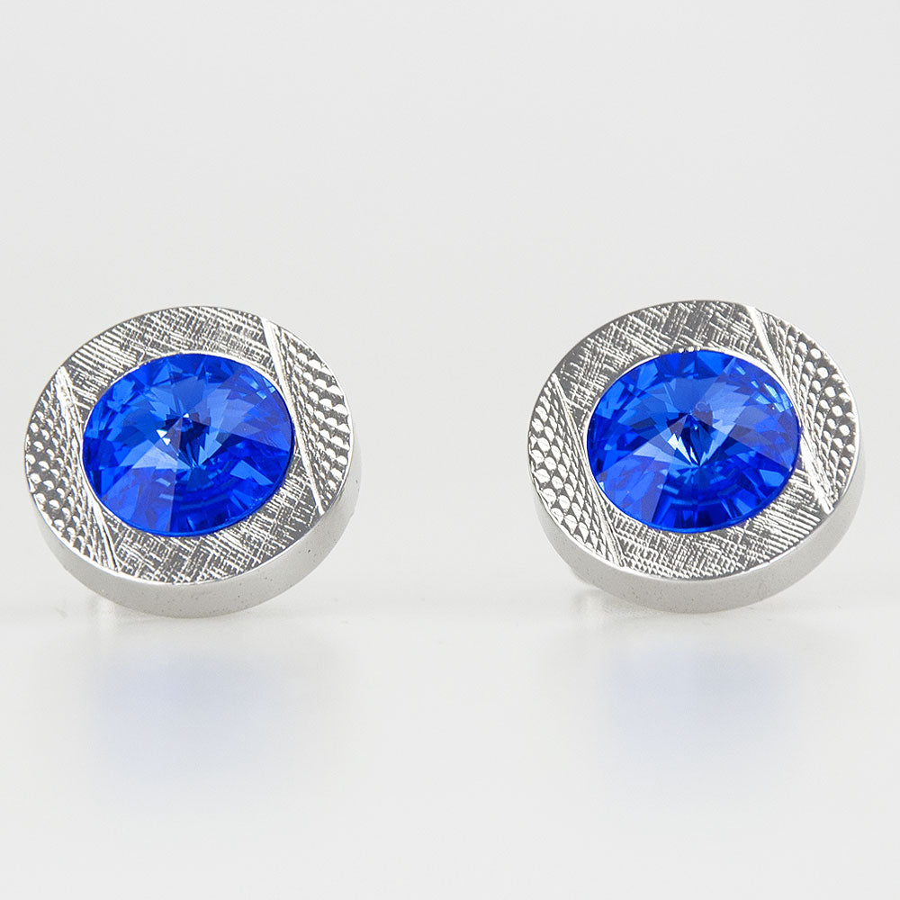 Double Round Silver/Blue Crystal Cufflinks
