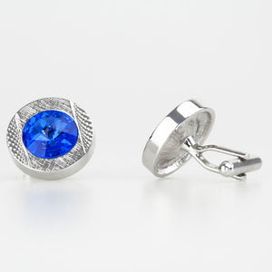 Double Round Silver/Blue Crystal Cufflinks Side