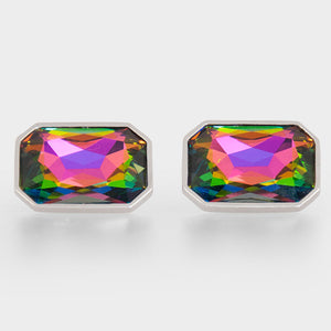 Multi Colour Crystal Rectangle Cufflinks