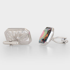 Multi Colour Crystal Rectangle Cufflinks Side