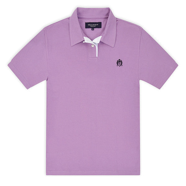 Lilac Piqué Polo Top with White Contrasting Insert