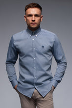 Grey cotton oxford shirt with button down collar