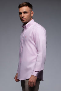 Pink cotton oxford shirt with button down collar