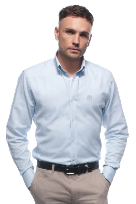 Sky blue cotton oxford shirt with button down collar