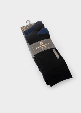 William Hunt Savile Row Men's three pack Black, Grey and Blue Socks with ribbed cuffs and contrast heel and toe