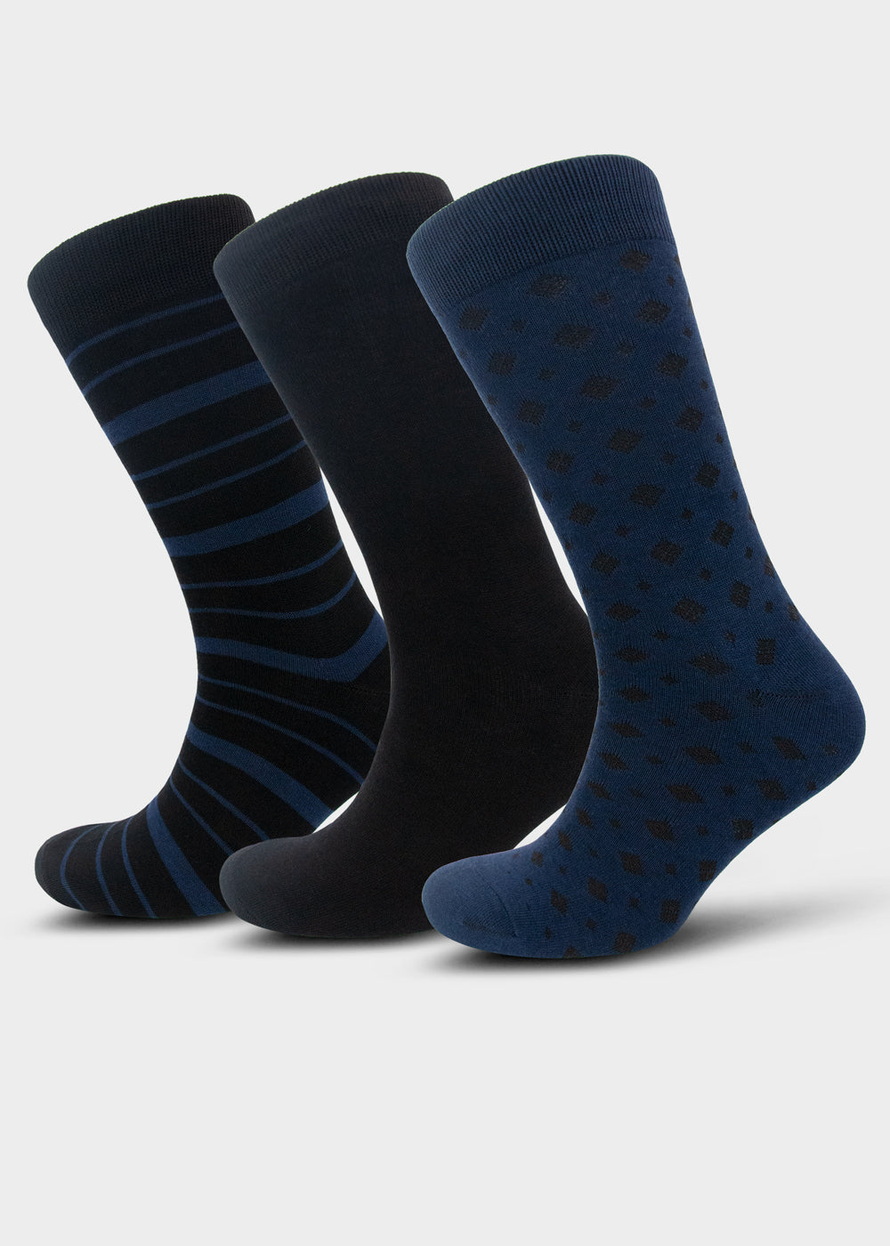 William Hunt Savile Row Men's Blue & Black Socks