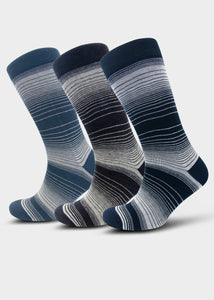 Men's Navy & Grey Stripe Socks (3 Pack)