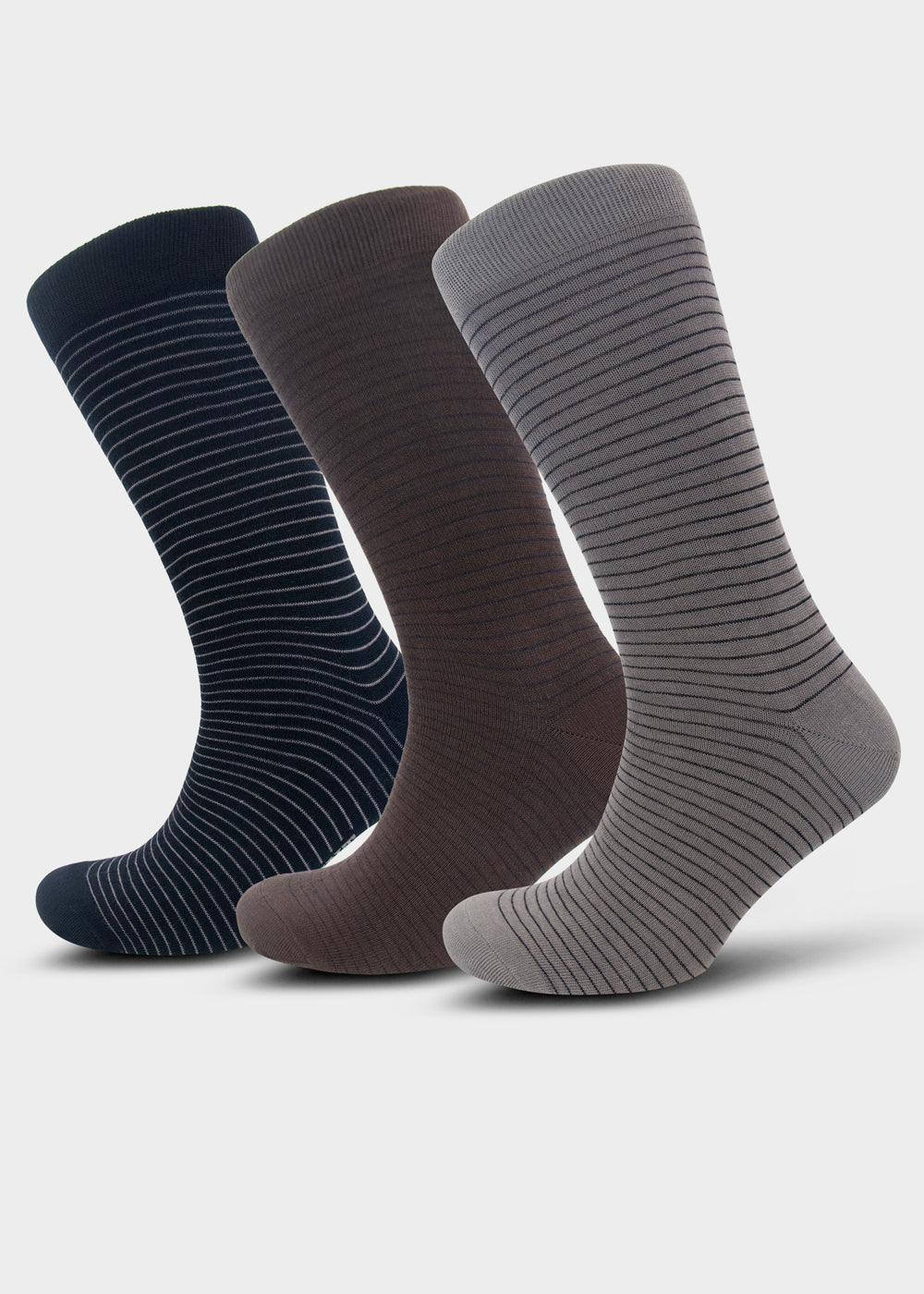 Men's three pack Navy Blue, Brown and Grey Stripe Socks