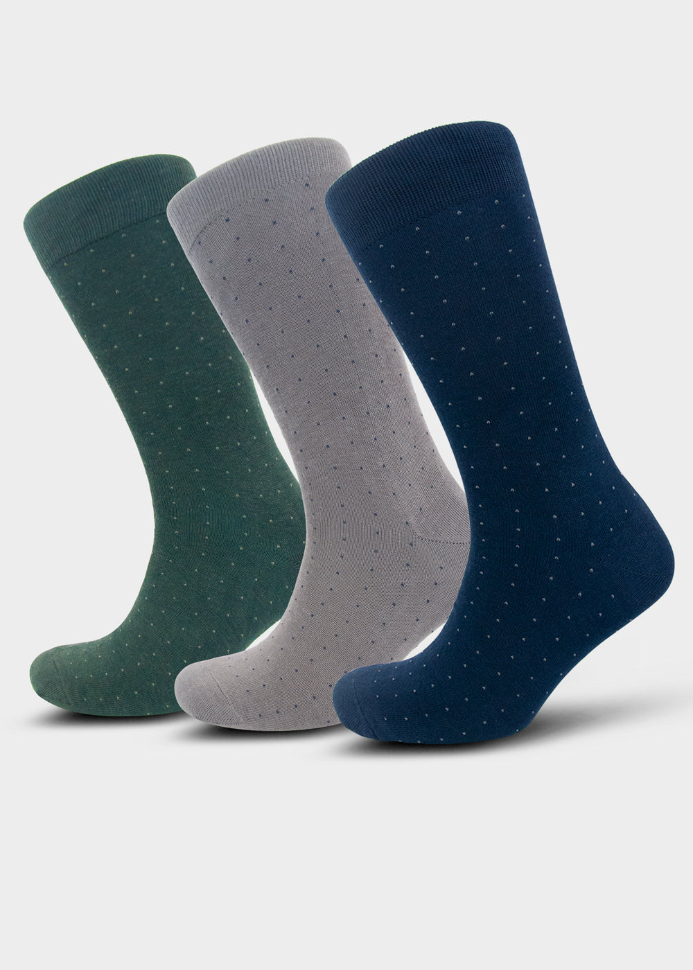 William Hunt Savile Row Men's Blue, Green and Grey Polka Dot Socks