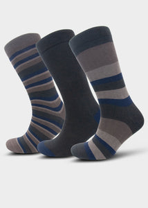 William Hunt Savile Row Men's Grey & Navy Blue Mixed Stripe Socks