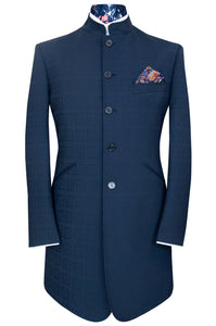 The Emsworth Navy Mandarin Collar Suit