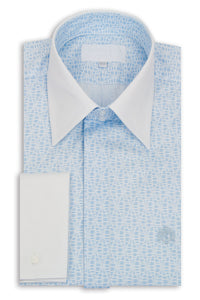 White with Sky Blue Pattern Forward Point Collar Shirt