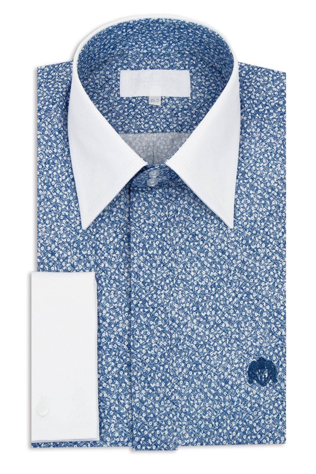Blue with White Floral Pattern Forward Point Collar Shirt