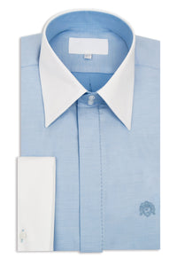 Sky Blue Forward Point Collar Shirt with White Pin Dot