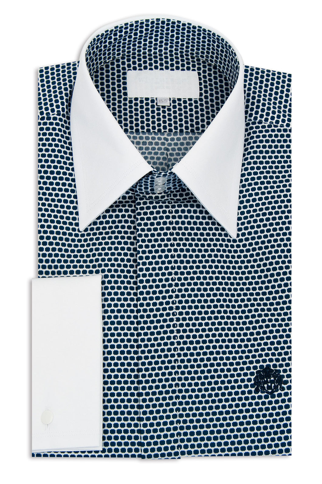 White with Blue Dot Pattern Forward Point Collar Shirt
