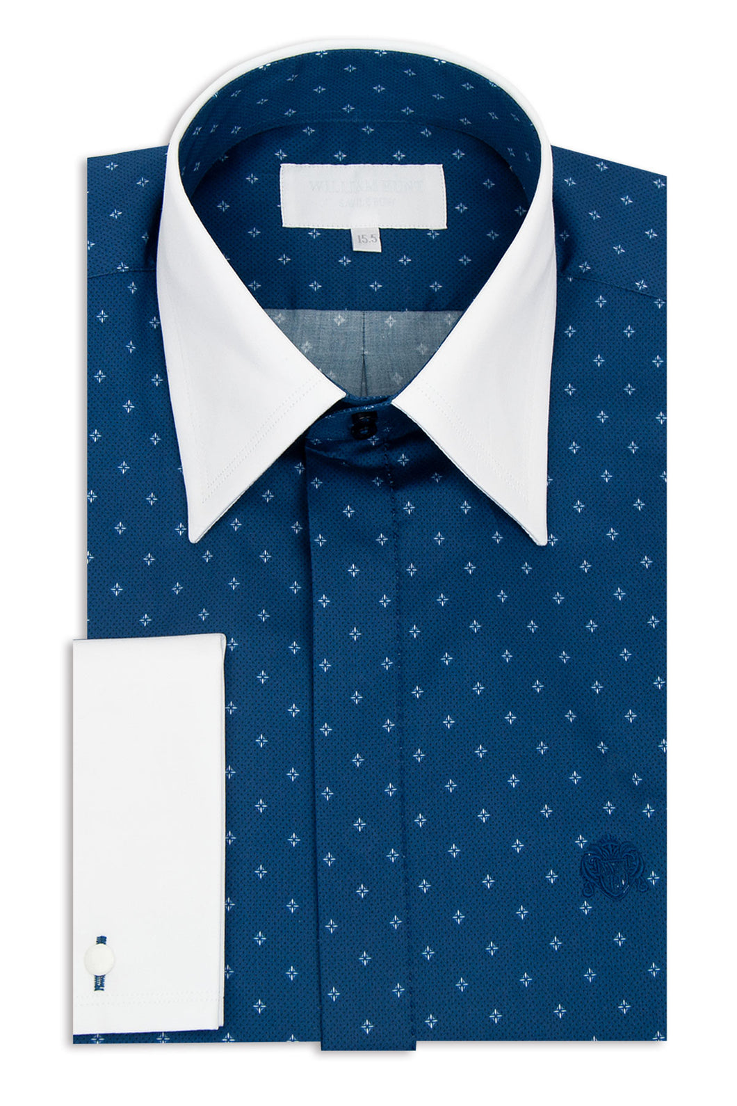 Blue Forward Point Collar Shirt with White Pattern