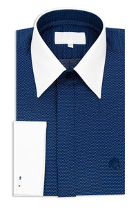 Navy Forward Point Collar Shirt with White Pin Dot