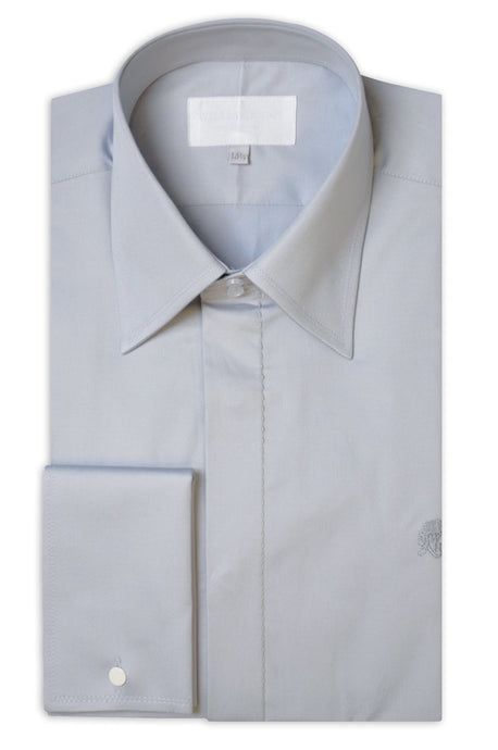 Light Grey Cotton Poplin Shirt with Matching Tie - William Hunt Savile Row