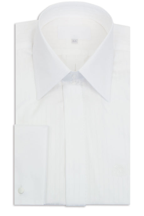 White Striped Forward Point Collar Shirt